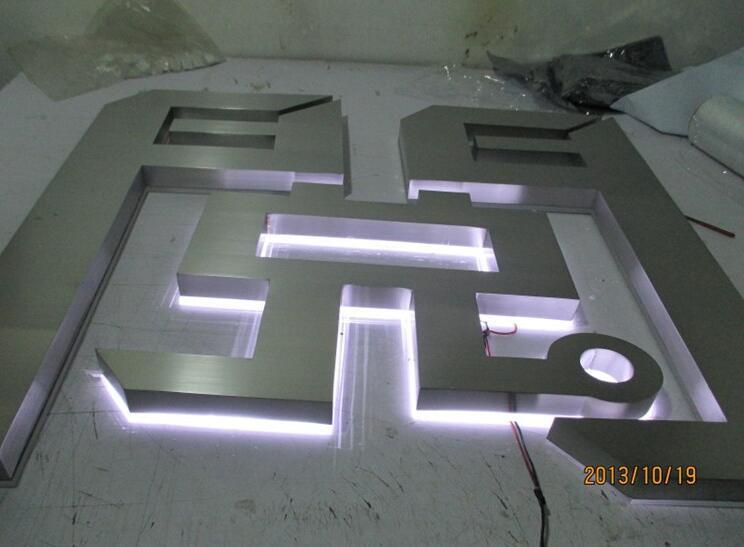 门头招牌发光字,背发光字制作,不锈钢灯箱字,平面发光图片